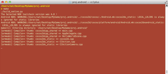 Running make in the proj.android folder