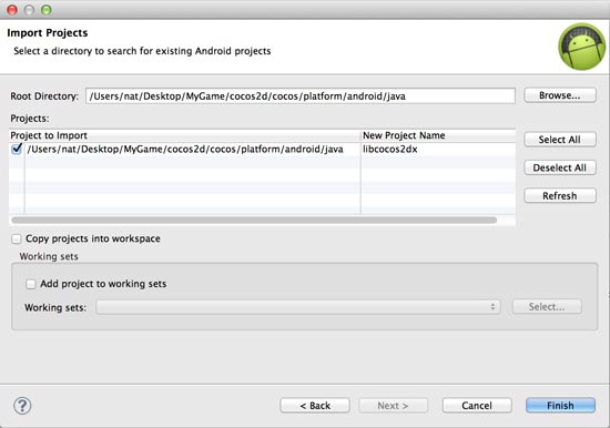 Importing the Cocos2dx java project