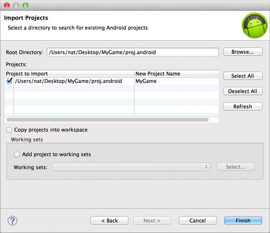 Selecting the proj.android folder and finalizing the new Eclipse project