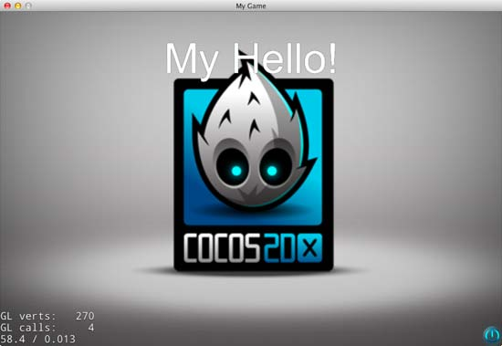 Running the MyHello Mac Xcode Cocos2d-X project