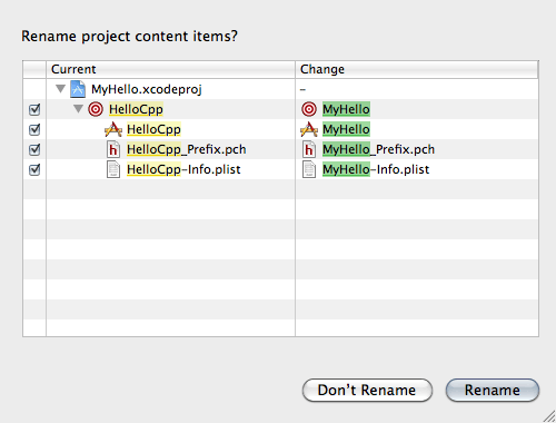 Renaming an Xcode project window