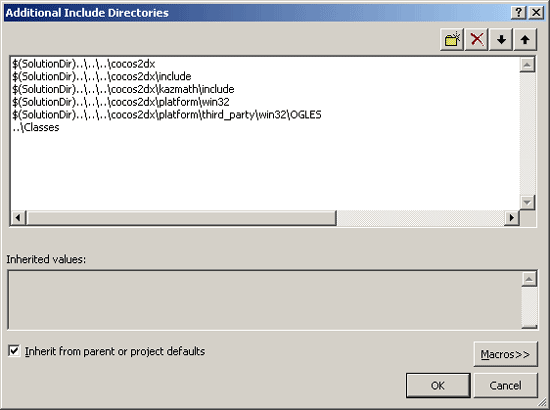 Setting the additional include directores for a Cocos2d-X win32 project