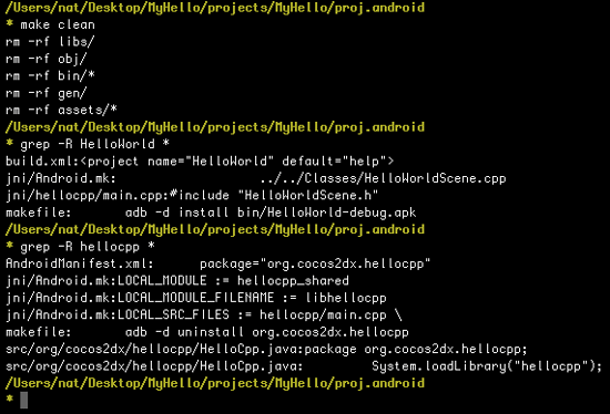 Running grep to look for all proj.android files to rename